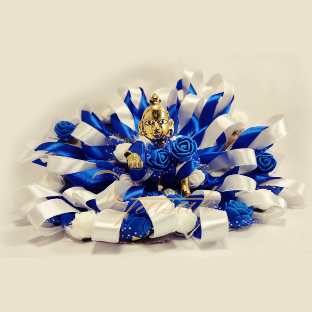 Laddu Gopal Dress Image Splendid Blue White Ribbon Flower