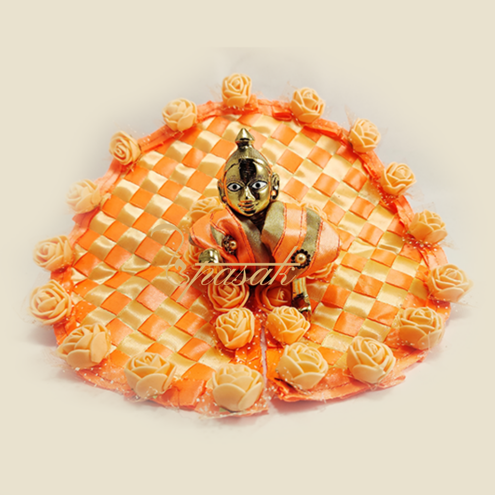 Laddu Gopal Dress Images Orange Golden Check Ribbon with Golden Rose