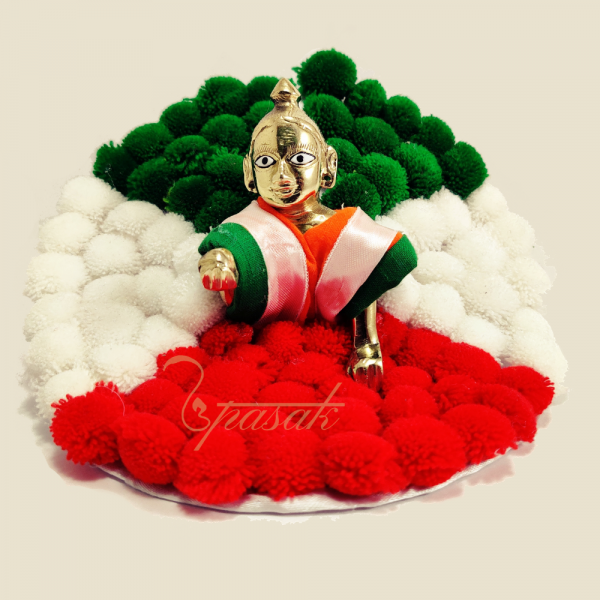 Laddu Gopal Dress Images Tiranga Pattern Puff