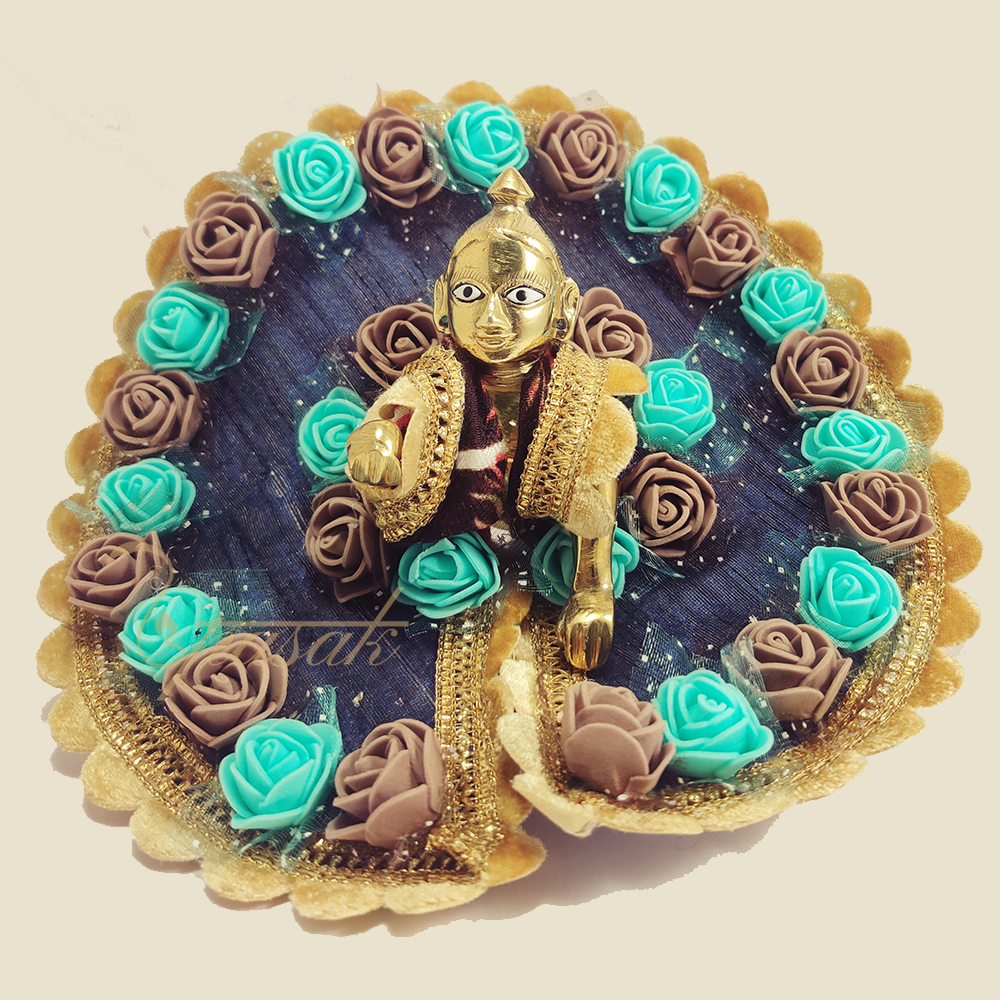 laddu-gopal-dress-images-blue-with-aqua-brown-with-mukut-ULGDM002
