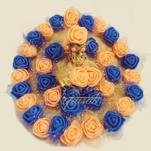 Laddu Gopal Dress Image Orange & Blue Roses