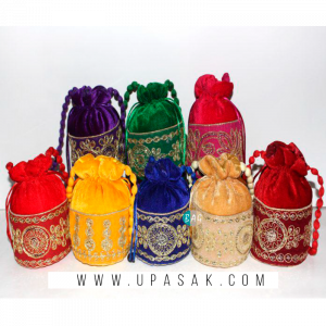 Velvet Embroidery Work Potli Bag