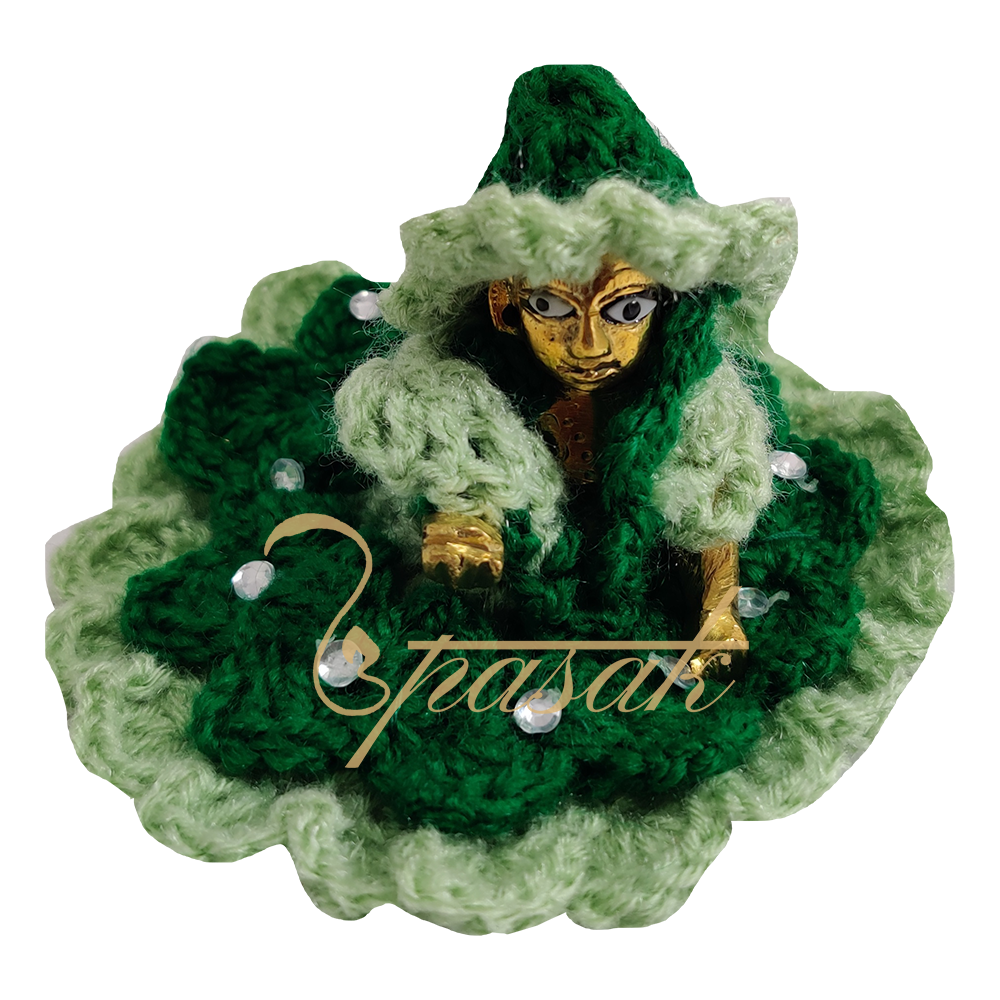 Laddu Gopal Green Woolen Dress