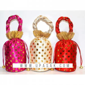 Cylindrical Shape Dot Printed Potli Bag