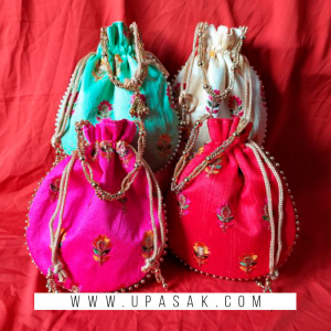 Embroidery Flower Work Potli Bag
