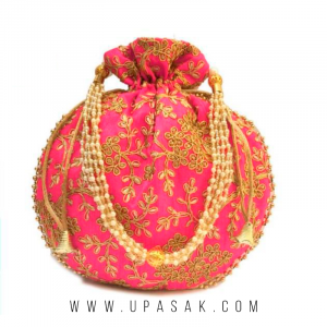 Embroidery Oval Shape Potli Bag