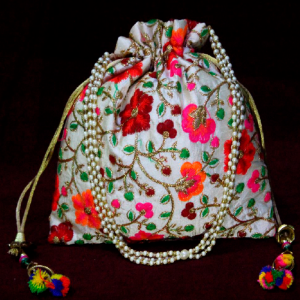 Flower Print Embroidery Potli Bag