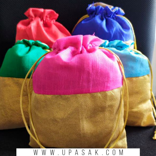 Jute and Net Mix Potli Bag