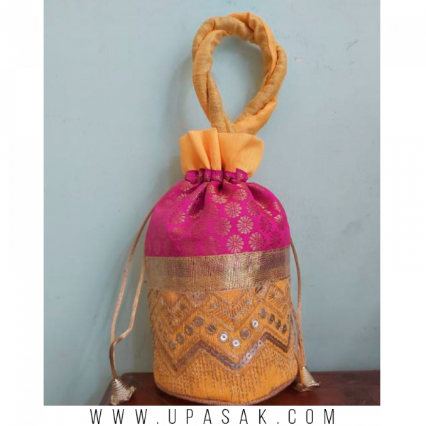 Lace and Stone Work Printed Potli Bag