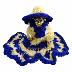 Laddu Gopal Blue Cream Woolen Dress