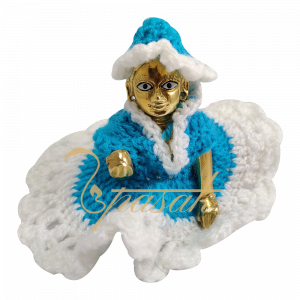 Laddu Gopal Blue with White Base Woolen Dress