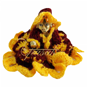 Laddu Gopal Brown Yellow Woolen Dress