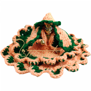Laddu Gopal Peach and Green Woolen Dress