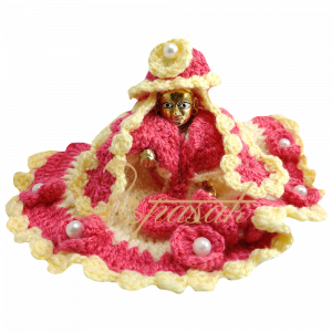 Laddu Gopal Pink Cream Heavy Work Woolen Dress