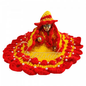 Laddu Gopal Red Yellow Heavy Work Woolen Dress