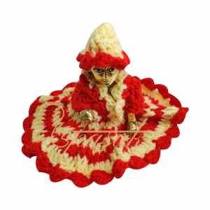 Laddu Gopal Red and Cream Woolen Dress