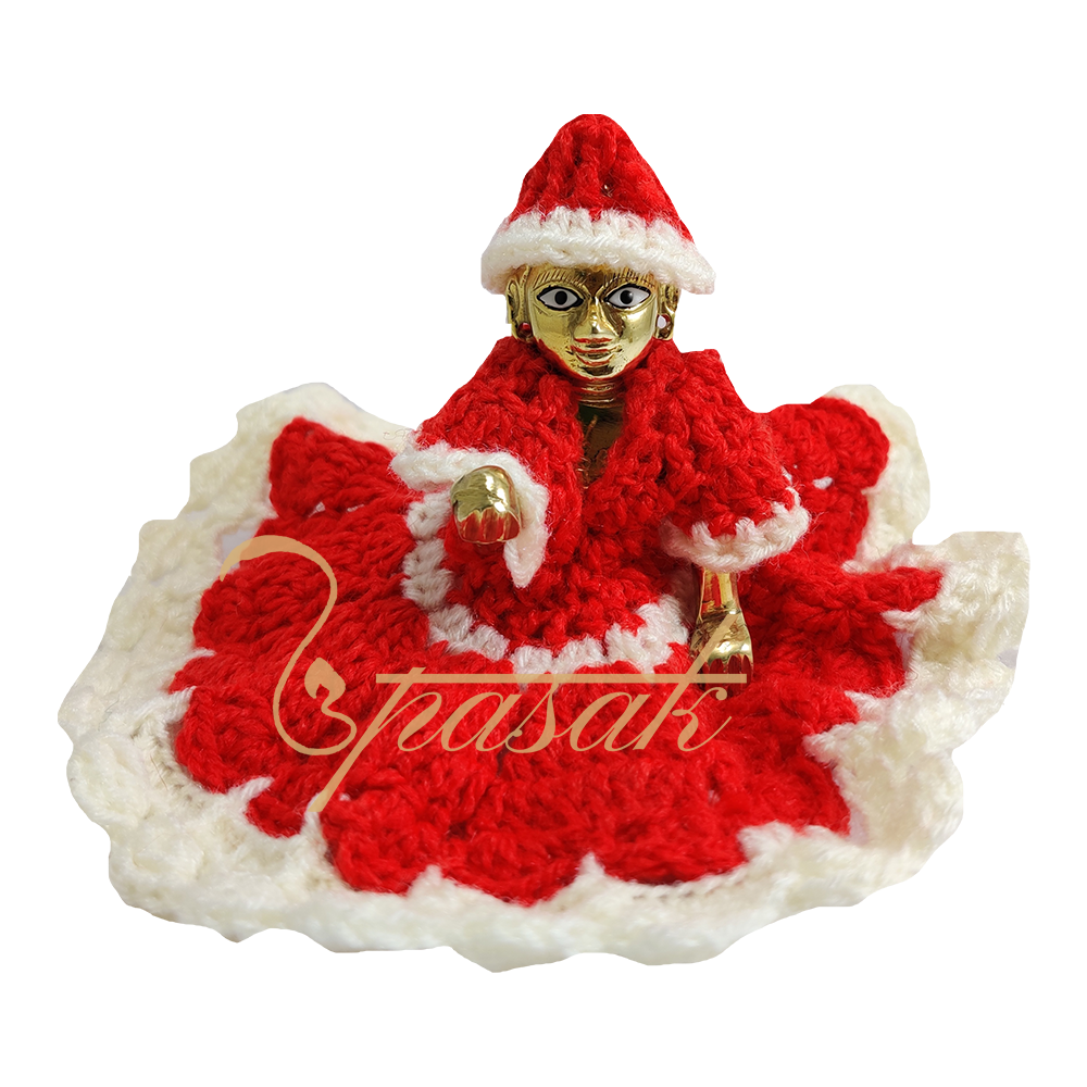 Laddu Gopal Red and White Mix Woolen Dress