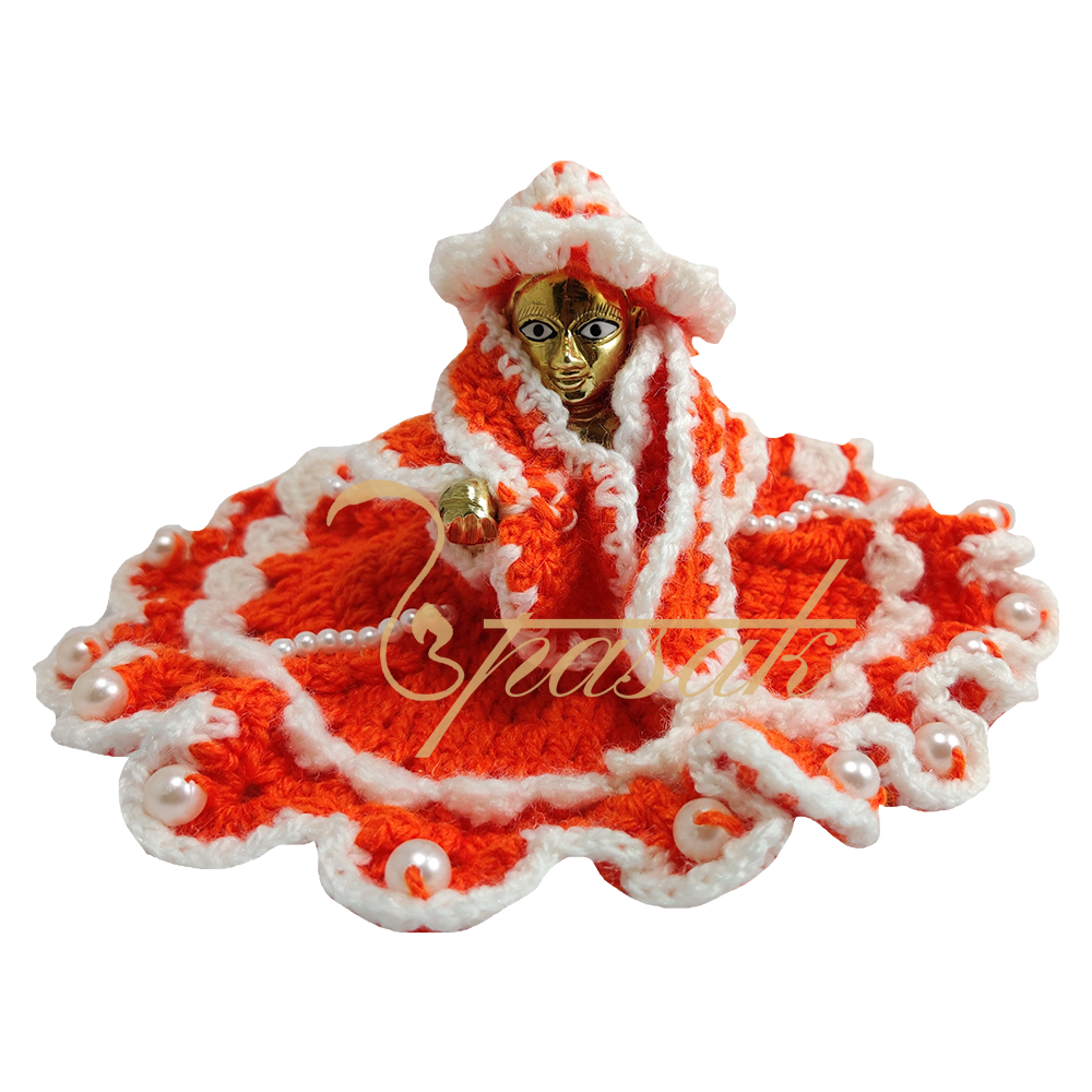 Laddu Gopal Red and White with White Moti Woolen Dress
