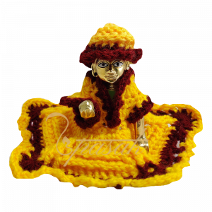 Laddu Gopal Yellow Brown Woolen Dress