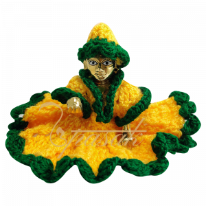 Laddu Gopal Yellow Green Woolen Dress