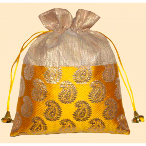 Silk Leaf Print Potli Bag